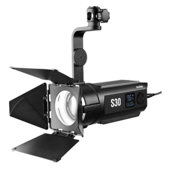 Godox-S30-LED-focusing-light-with-SA-08-barndoor