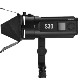 Godox-S30-LED-focusing-light-with-SA-08-barndoor