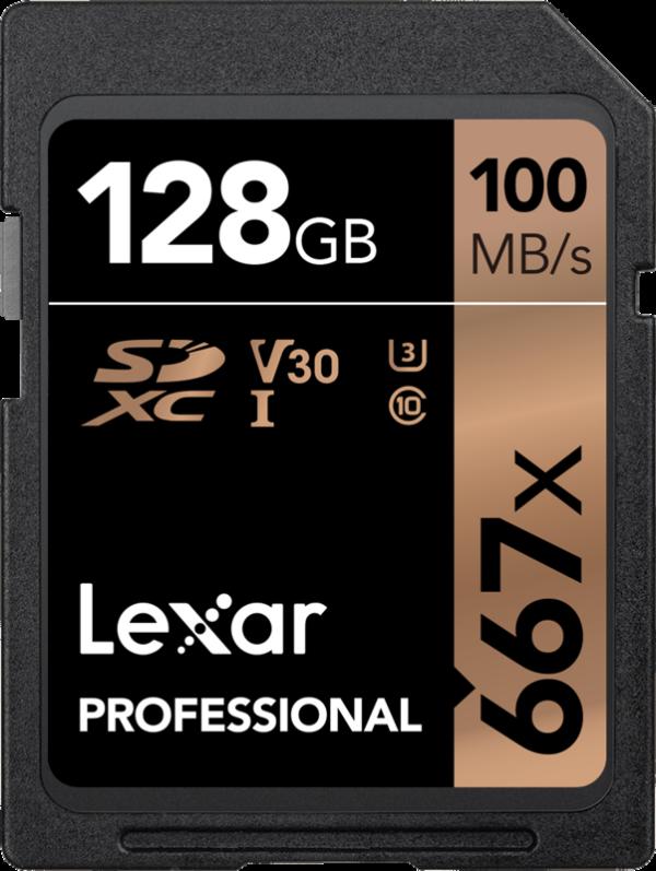128GB-Lexar-Pro-667X-SDXC-UHS-I-U3-(V30)-R100/W90